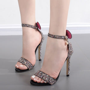 Summer Shoes One Word Buckle Sequin Sandals High-heeled for Women