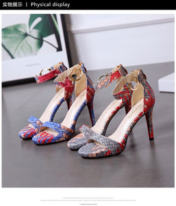 Women Shoes A Word Buckle Sandals with Open Toe High Heels
