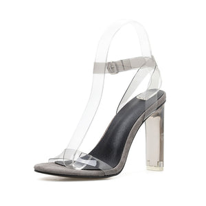 Shoes Women with Open-toed High Heels Transparent Crystal Sandals