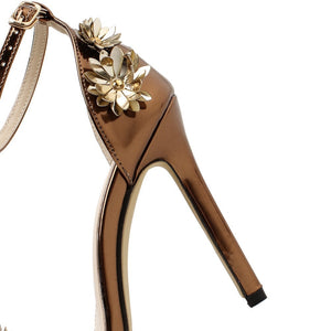 Women Shoes High-heeled Stiletto Sandals with Metal Flowers
