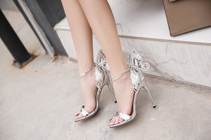 Women Shoes 3D Butterfly Sandals with Stiletto Heels