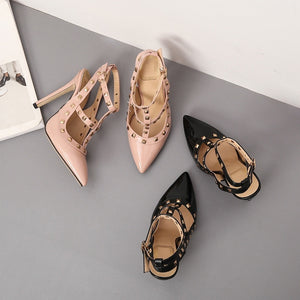 Women Shoes Large Size Rivet Pointed Toe High-heeled Stiletto Sandals