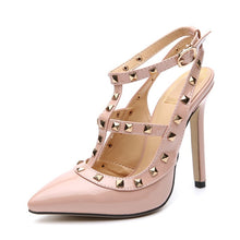Load image into Gallery viewer, Women Shoes Large Size Rivet Pointed Toe High-heeled Stiletto Sandals
