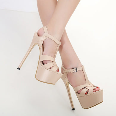 Large Size Women Shoes 16cm Super High-heeled Platform Summer New Sexy Sandals