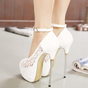 Women Shoes Ankle Strap Lace Super High Heel Platform Sexy Fish Mouth Sandals