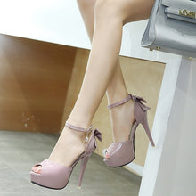 Load image into Gallery viewer, Women Shoes Sweet Bow Fish Mouth Lacquer Leather High-heeled Platform Sandals