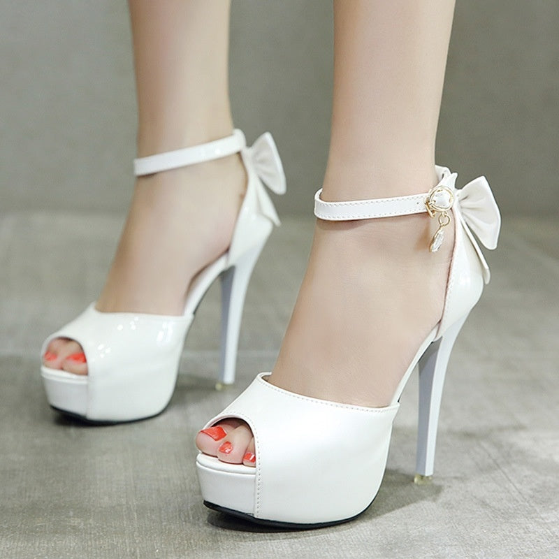 Women Shoes Sweet Bow Fish Mouth Lacquer Leather High-heeled Platform Sandals