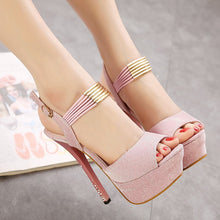 Load image into Gallery viewer, Women Shoes Rhinestone Sweet Fish Mouth High-heeled Platform Sandals