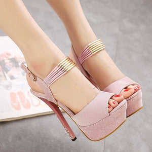 Women Shoes Rhinestone Sweet Fish Mouth High-heeled Platform Sandals