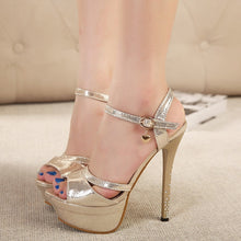 Load image into Gallery viewer, Women Korean Princess Fish Mouth Rhinestone High-heeled Platform Sandals