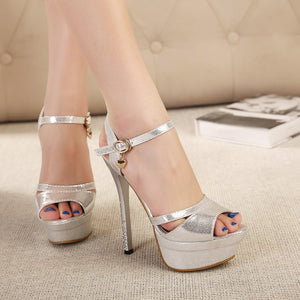 Women Korean Princess Fish Mouth Rhinestone High-heeled Platform Sandals
