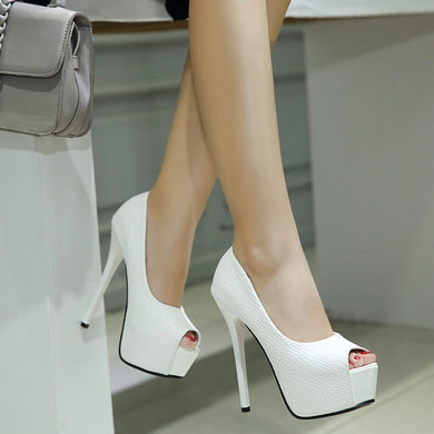 Women Shoes Fish Mouth Sandals High-heel Platform Pumps