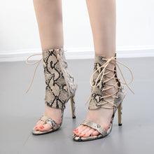 Load image into Gallery viewer, Women Shoes High-heeled Serpentine Hollowed-out Roman Sandals