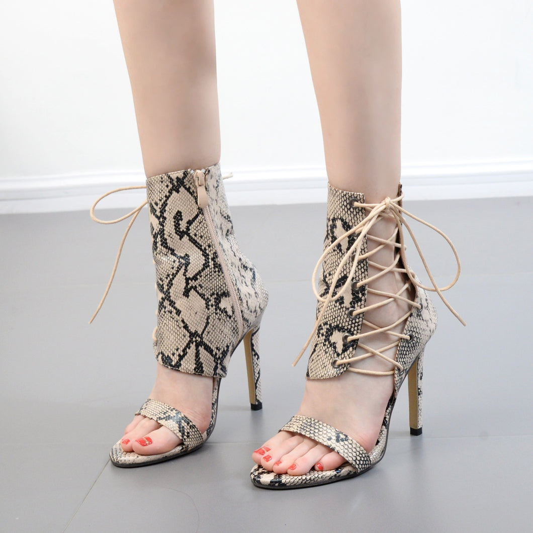 Women Shoes High-heeled Serpentine Hollowed-out Roman Sandals