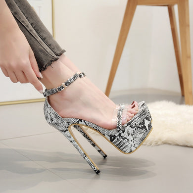 Women Shoes Sexy Serpentine 16cm High-heeled Transparent Tap Platform Sandals