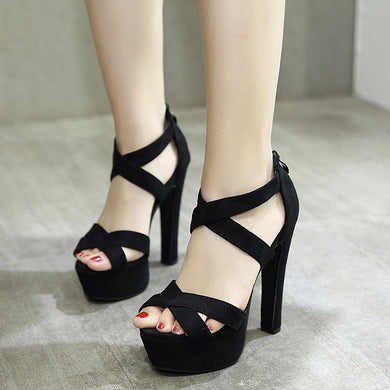 Women Shoes 14cm Ultra-high Heel Platform Sandal Suede Thick Heel