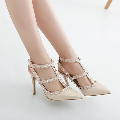 sexy women shoes pointed toe high heels sandals with riveting