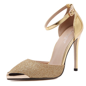 Women Shoes High-heeled Sandals with Metal Pointed Toe Stiletto Heels