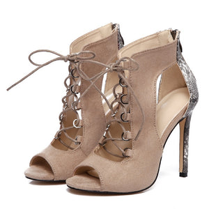 Women Shoes Cross Straps High Heel Sandals Roman Style