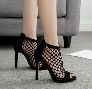 Sexy Women Shoes Hollow Out High-heeled Roman Sandals