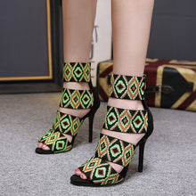 Load image into Gallery viewer, Women Shoes National Style One Word Thin High-heeled Sandals