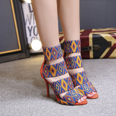 Women Shoes National Style One Word Thin High-heeled Sandals