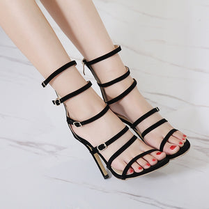 Sexy Women Shoes Belt Buckles Roman Sandals Stiletto Heels