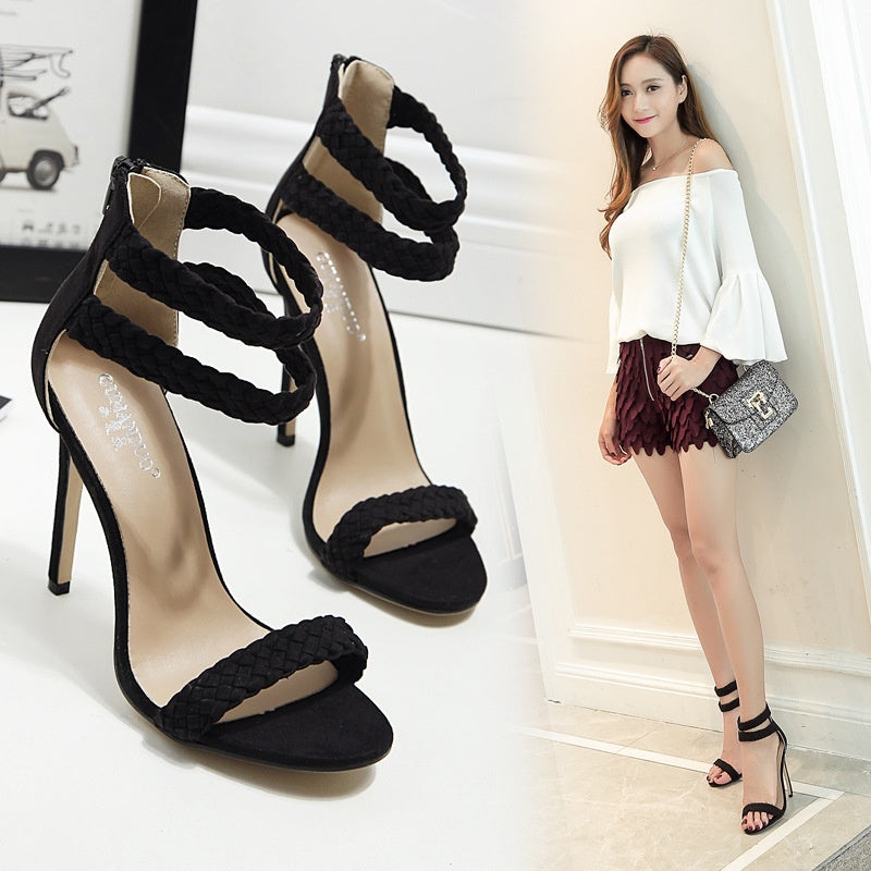 Sexy Women Shoes Weaving Ankle Straps High Heel Sandals