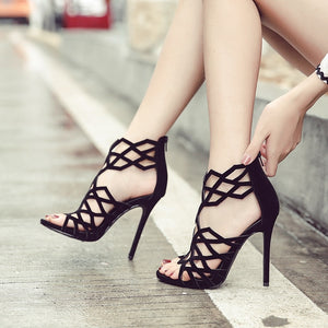 Sexy Women Shoes Hollow Out High Heel Stiletto Rome Sandals
