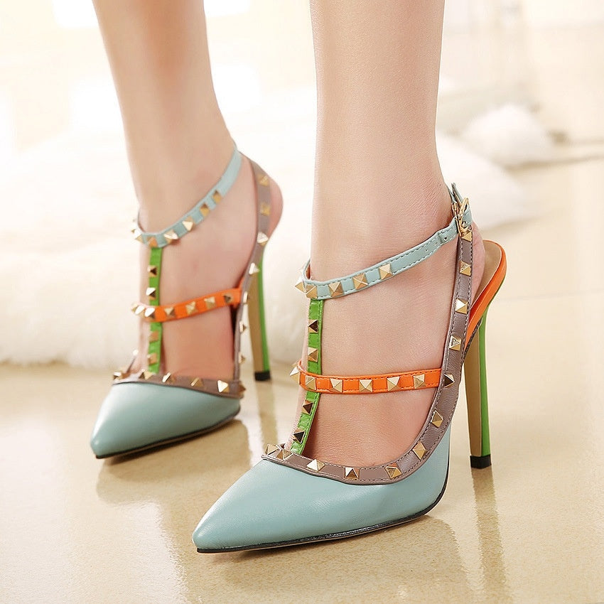 Sexy Women Shoes Rivet High Heels Sandals with Pointed Toe