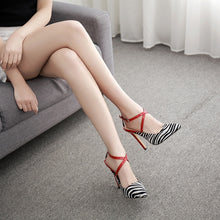 Load image into Gallery viewer, Sexy Women Shoes Foreign Red Zebra Striped High Heel Sandals with Pointed Toe