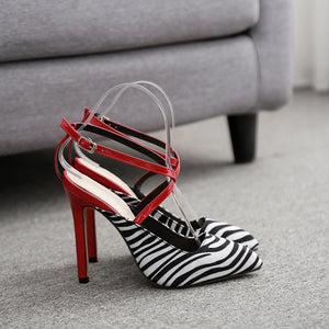 Sexy Women Shoes Foreign Red Zebra Striped High Heel Sandals with Pointed Toe