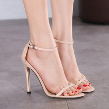 Load image into Gallery viewer, Sexy Women Shoes One Word Buckle High Heel Sandals