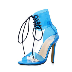 Women Shoes Summer Candy Color Transparent Strap High Heel Sandals