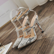 Load image into Gallery viewer, Sexy Women Shoes Snake Pattern Pointed Toe Thin-heeled Sandals