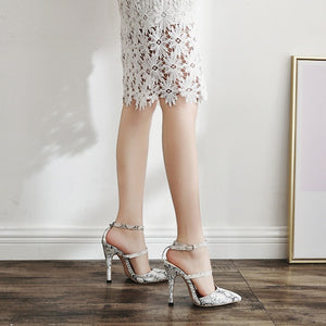 Sexy Women Shoes Snake Pattern Pointed Toe Thin-heeled Sandals
