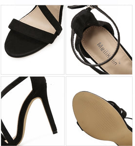 Summer Women Shoes One Word with Suede Hollowed High Heels Sandals
