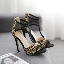 Load image into Gallery viewer, Summer Women Shoes Sexy Leopard Hollow Out Mesh High Heel Sandals