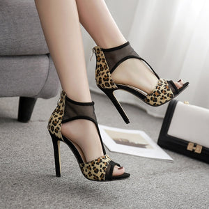 Summer Women Shoes Sexy Leopard Hollow Out Mesh High Heel Sandals