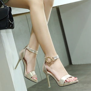 Metal Buckle Women Shoes High Heel Sandals