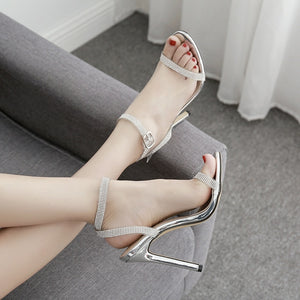 Women Shoes High-heeled Sandals with Rhinestone