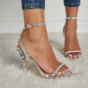 Women Shoes High-heeled Sandals with Rhinestone Open-toe Stiletto Heel Large Size