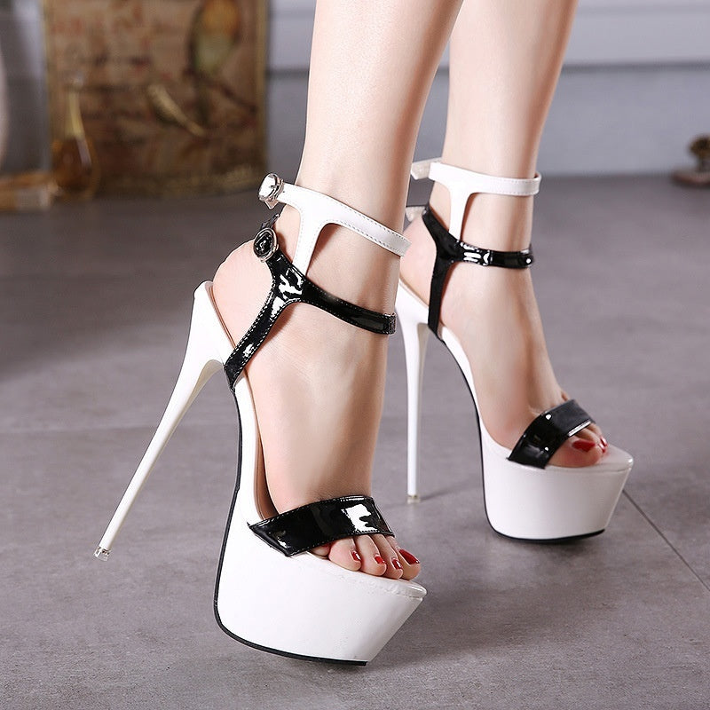 Large Size Women Shoes Sexy Super High Heel Platform Sandals 16cm with Color Matching