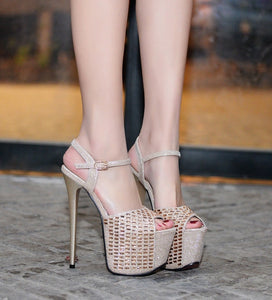 Sexy Women Shoes Ultra High Heel Sandals Platform with Rhinestone
