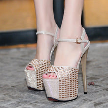 Load image into Gallery viewer, Sexy Women Shoes Ultra High Heel Sandals Platform with Rhinestone