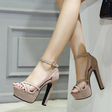 Load image into Gallery viewer, Sexy Women Shoes Suede Thin High Heels Platform Sandals