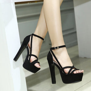 Sexy Women Shoes Suede Thin High Heels Platform Sandals
