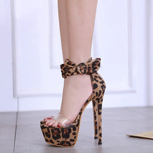 Load image into Gallery viewer, Sexy Women Shoes Open Toe Buckle Strap Leopard Print High Heels Sandals