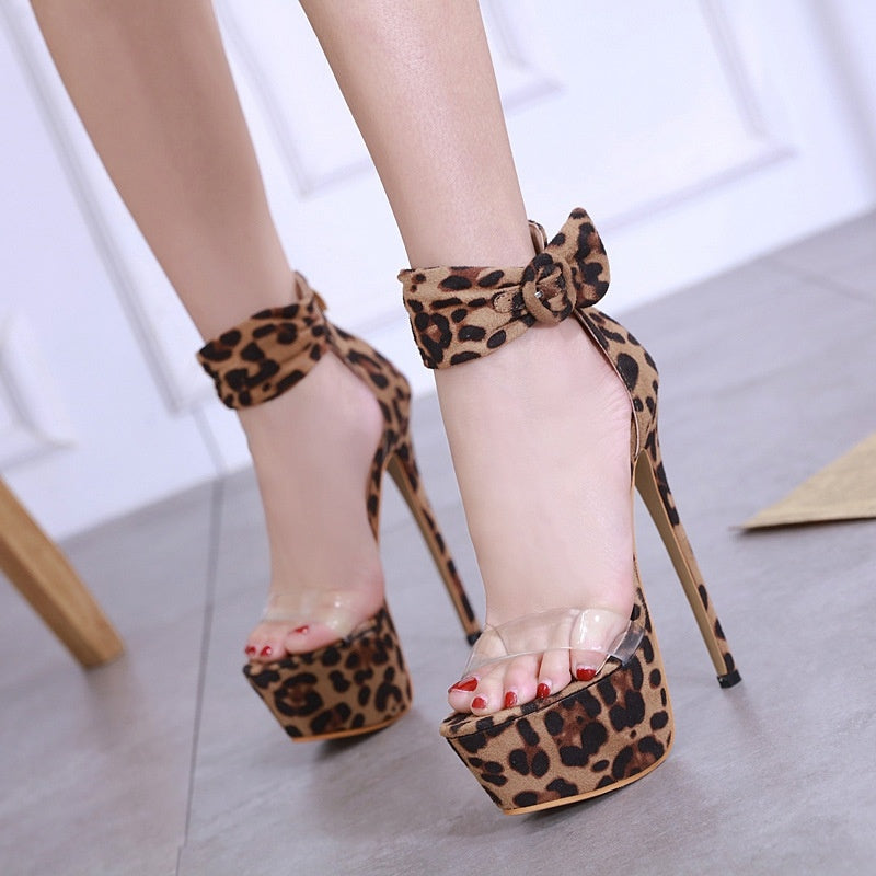 Sexy Women Shoes Open Toe Buckle Strap Leopard Print High Heels Sandals