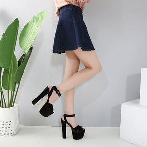 Korean Women Shoes Chunky Heels Sandals
